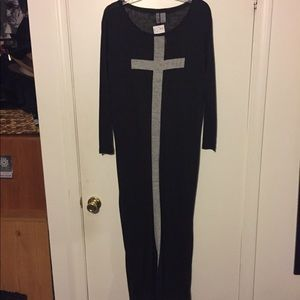 H&M Black Burnout Maxi Dress Cross Print XS NWT